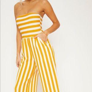 PLT Mustard Contrast Striped Jumpsuit